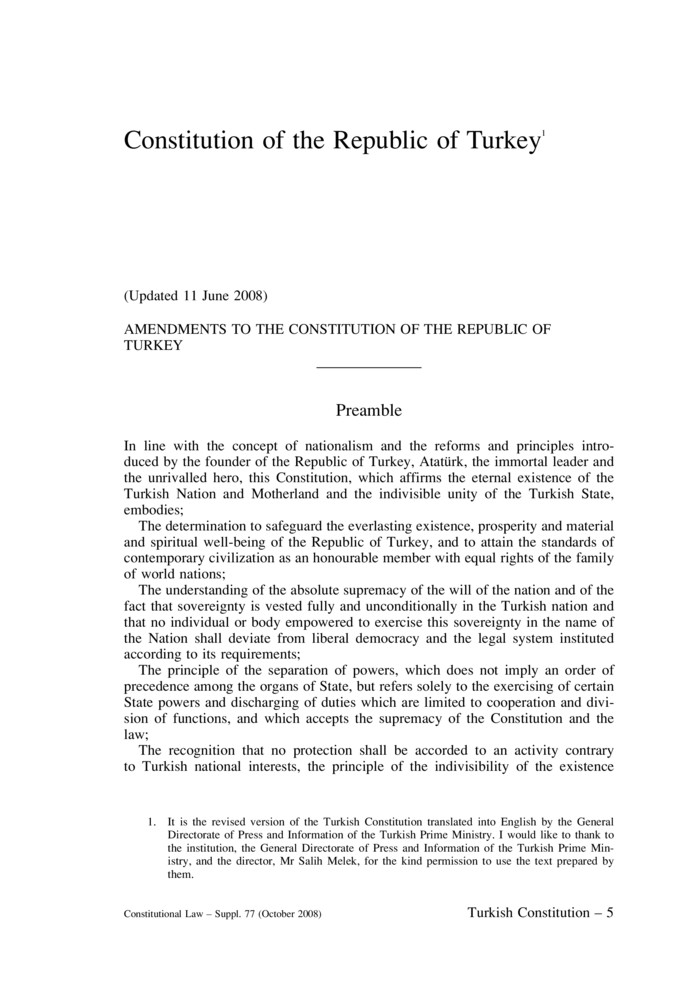 evrak - Constitution of the Republic of Turkey